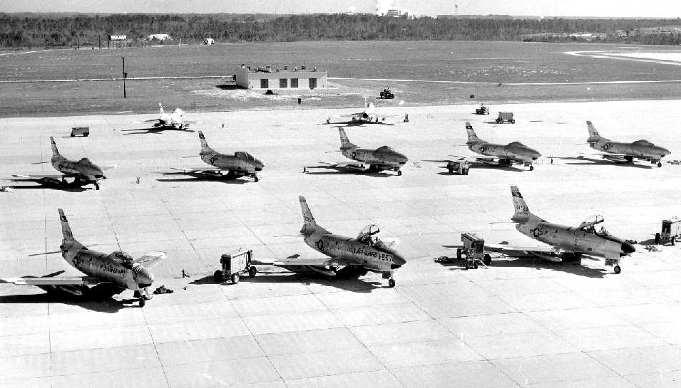 An undated (circa 1955-60) view of Imeson's Florida ANG ramp, full of 159th Fighter Interceptor Squadron F-86L Sabres.jpg